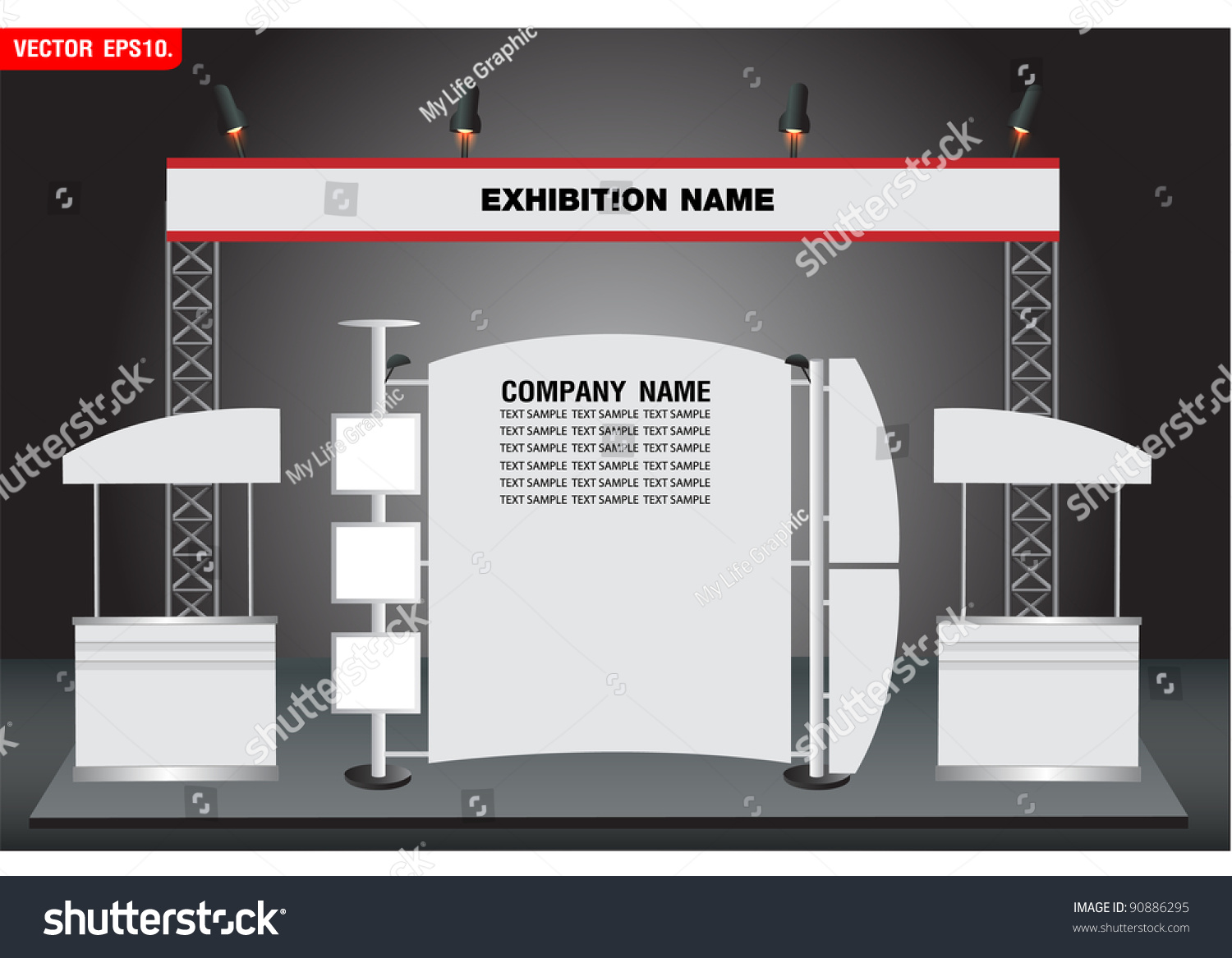 Simple Exhibition Stand Vector : Blank trade exhibition and promotion stand vector