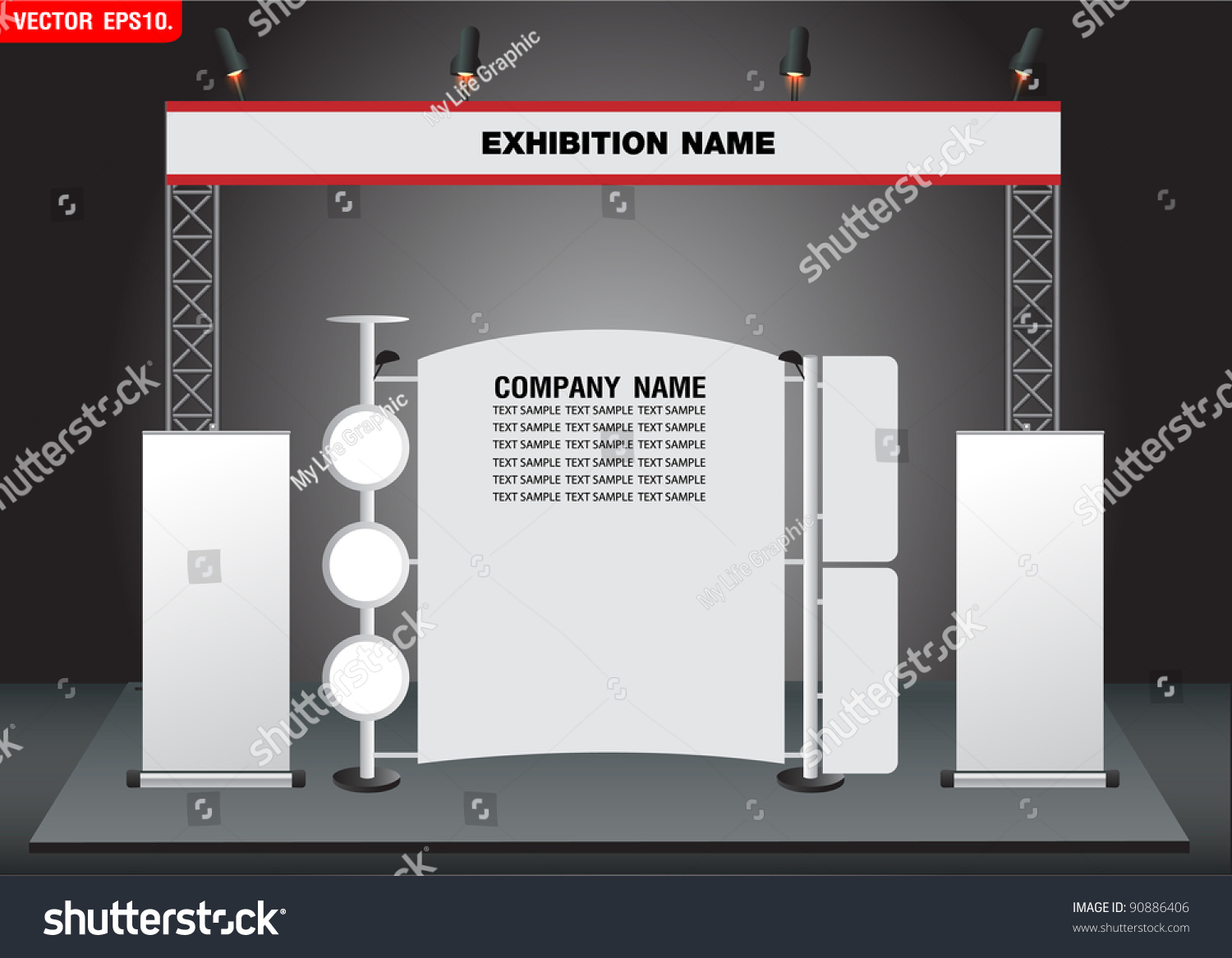 Simple Exhibition Stand Vector : Blank trade exhibition stand and roll up banner vector