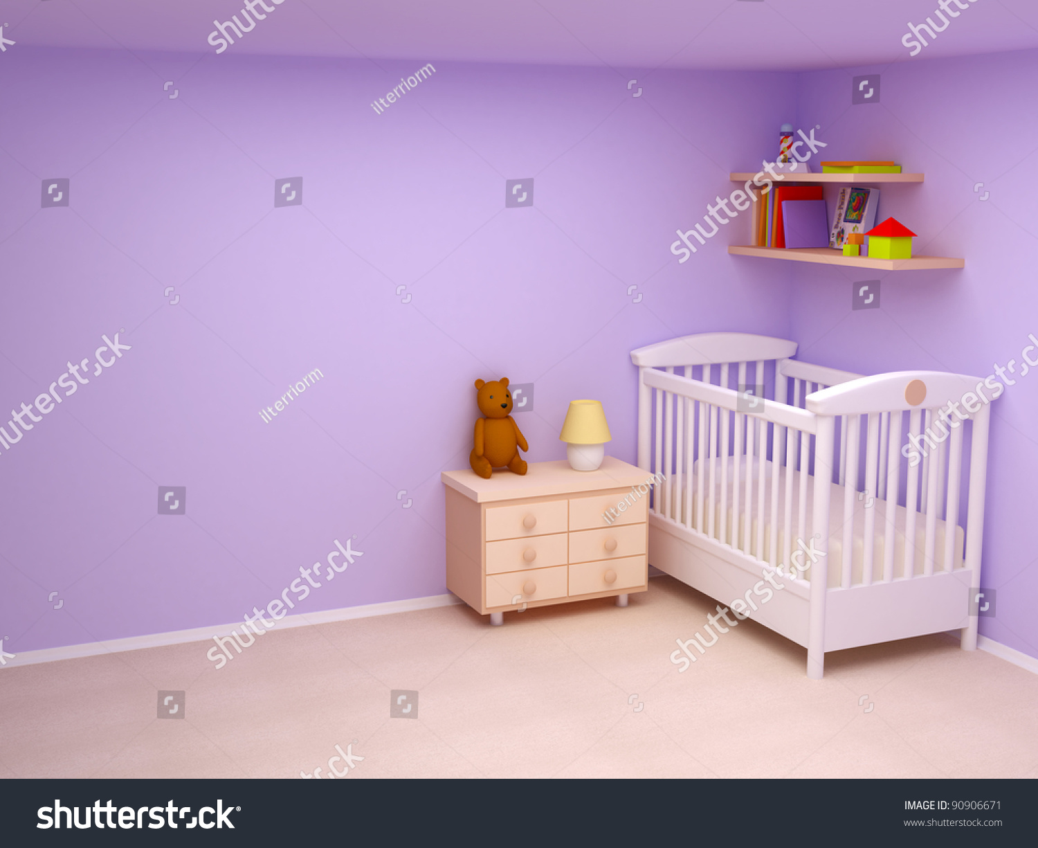 Pastel Colors Bedroom Babys Bedroom Commode Bear Pastel Colors Stock Photo 90906671