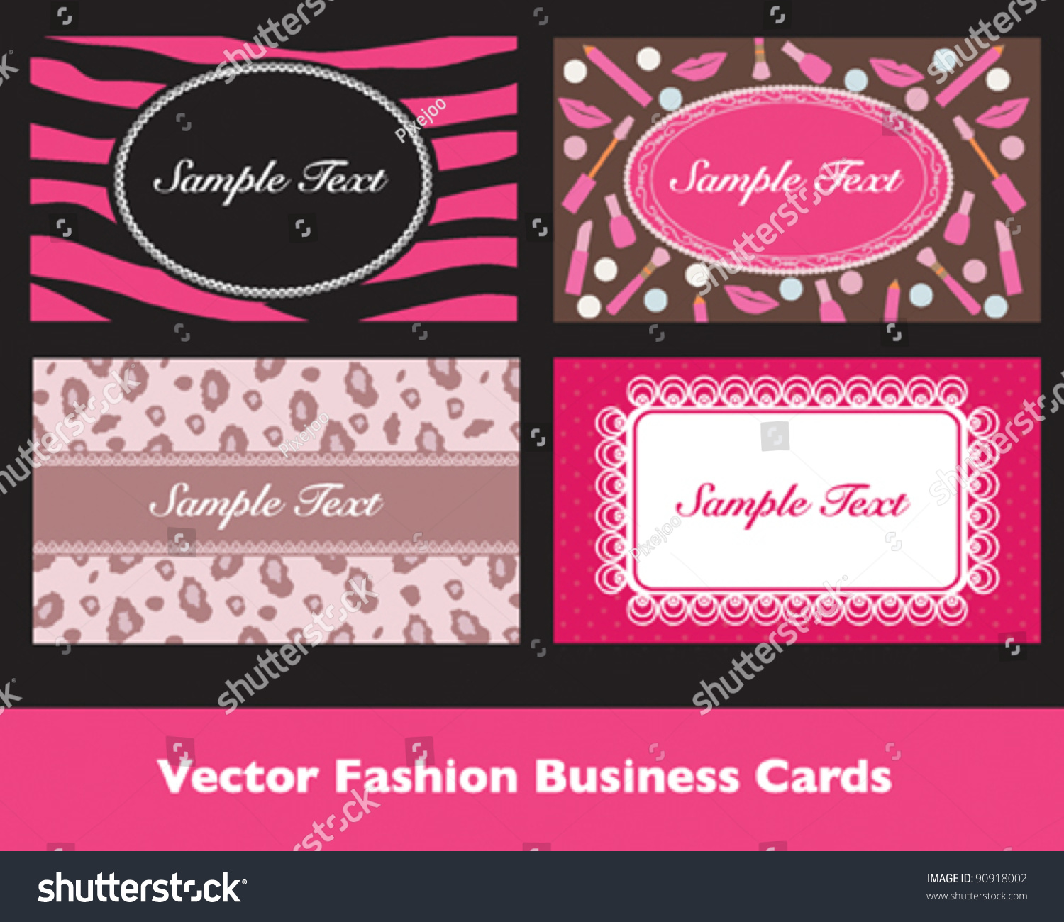 Pink Fashion Business Card Sets Stock Vector Shutterstock