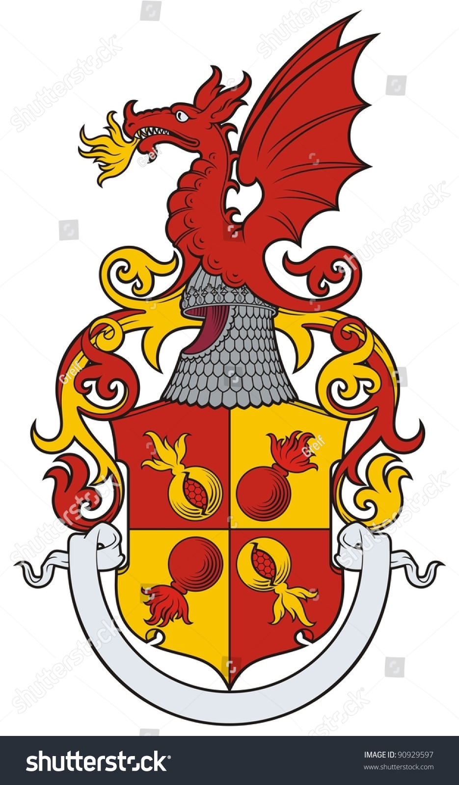 Dragon Heraldry: The Arms With A Grenade, A Pomegranate And A Dragon In