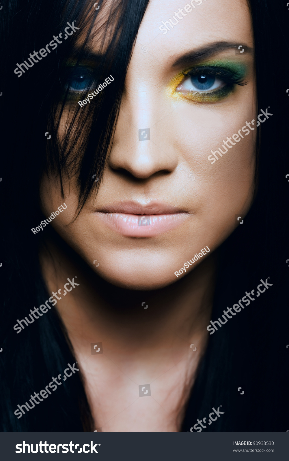 Beauty Dark Hair Woman Hypnotic Gaze Stock Photo Edit Now 90933530