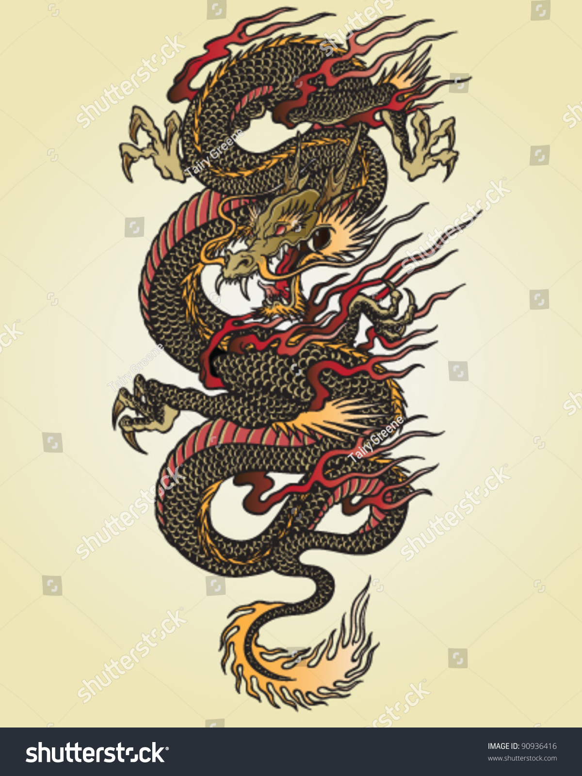 Asian Tattoos Illustrations: Full Color Asian Dragon Tattoo Illustration Stock Vector