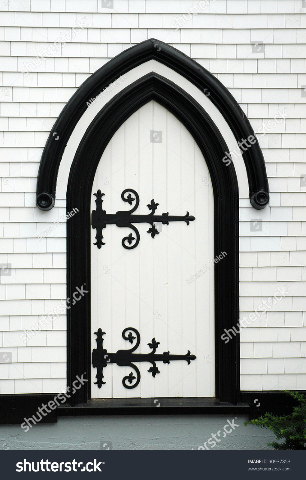 White Arched Wooden Church Door Black Stock Photo (Edit Now ...