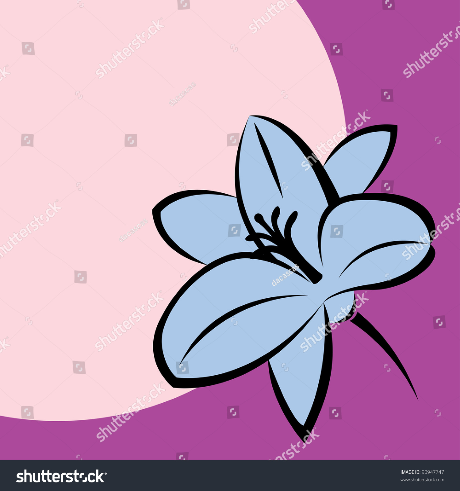 Vector Illustration Moon Lily Flower Stock Vector Royalty Free