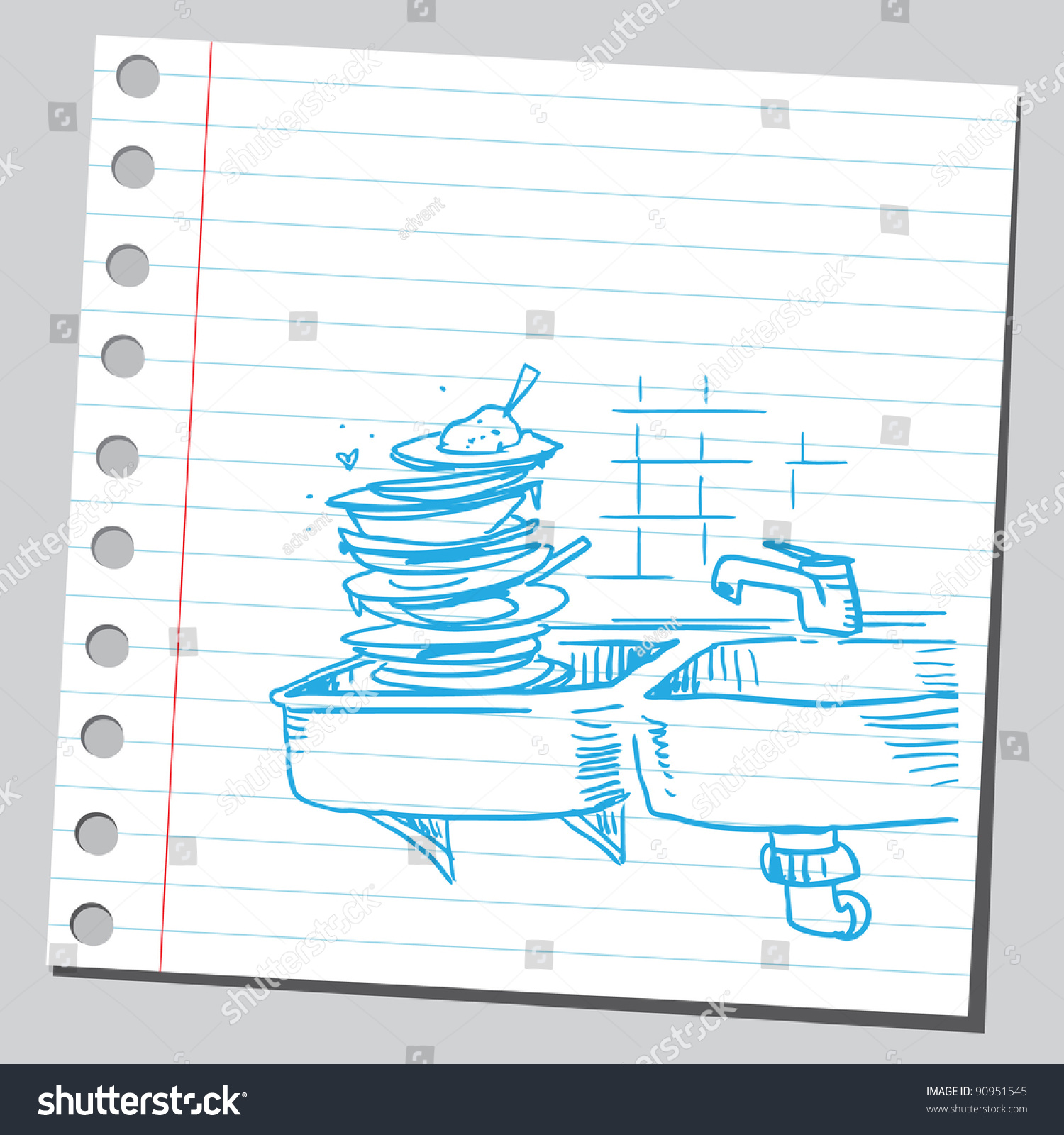 Kitchen Sink Full Dishes Stock Vector (Royalty Free) 90951545 ...