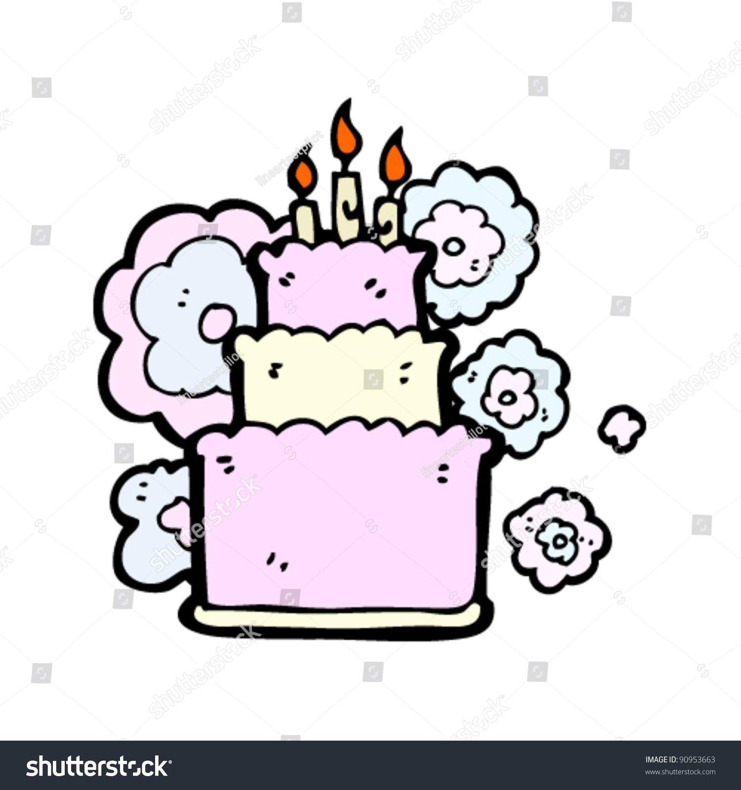 Huge Birthday Cake Cartoon Stock Vector 90953663 Shutterstock
