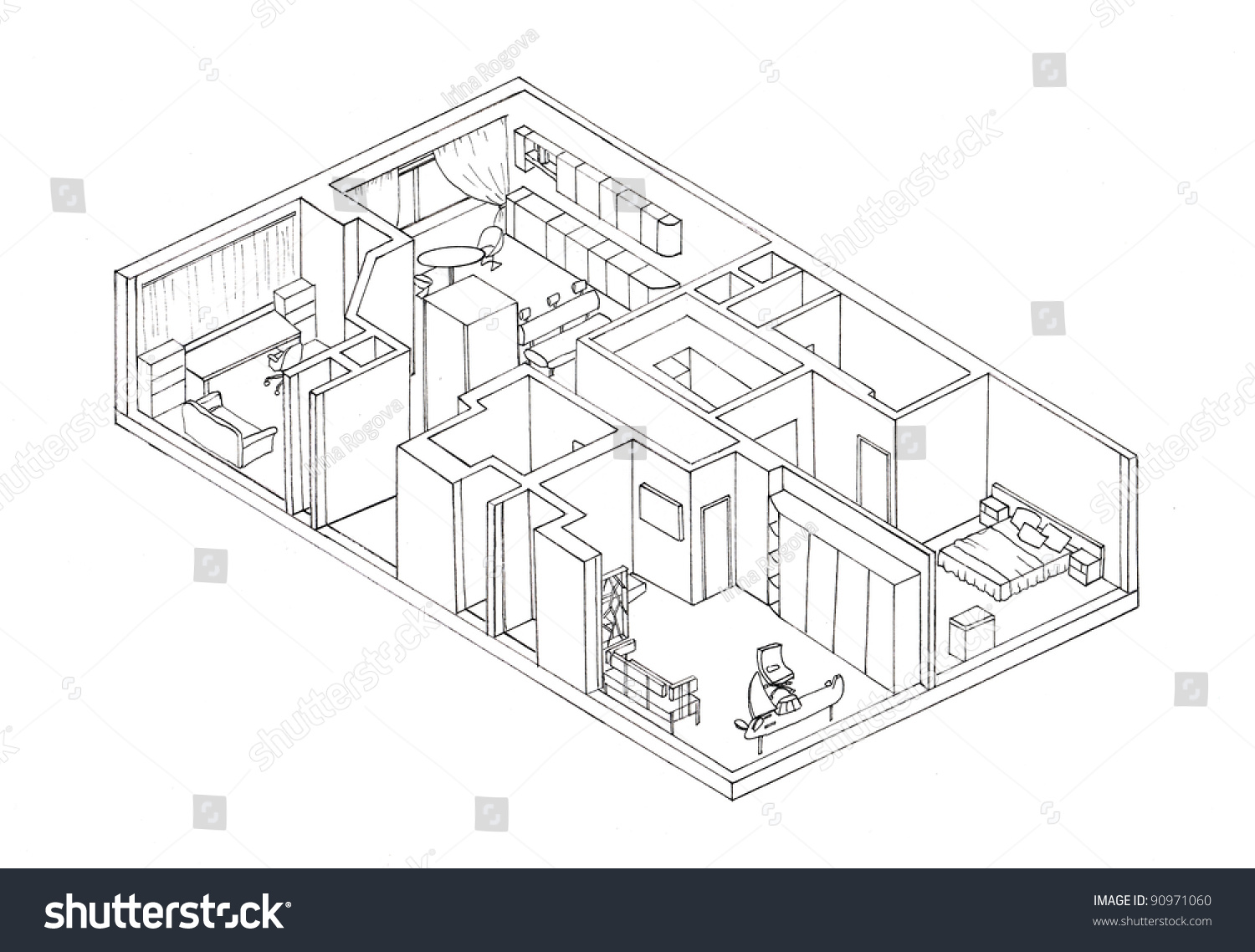 Sketch Isometry The Apartment Plan Liner Stock Photo