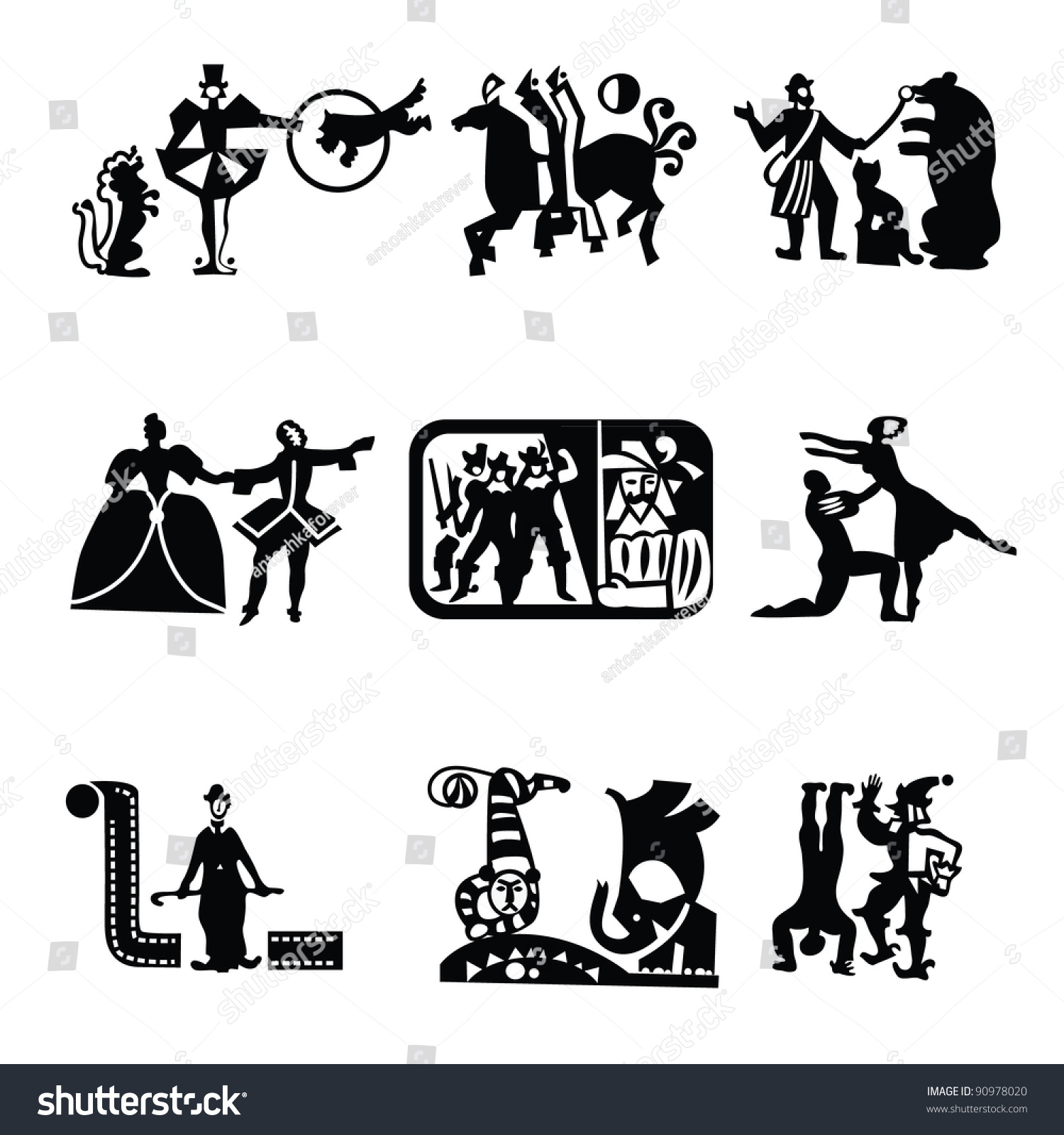 Collection Icons Art Theater Cinema Circus Stock Vector 2018