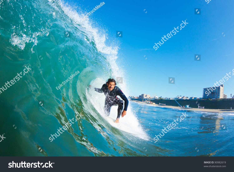 Surfer On Blue Ocean Wave Stock Photo 90982619 : Shutterstock