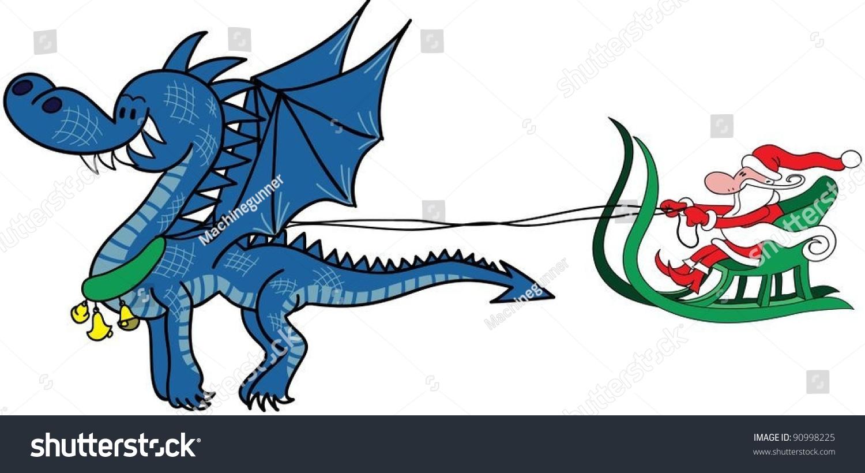 funny cartoon dragon pulls santas sleigh stock vector royalty free
