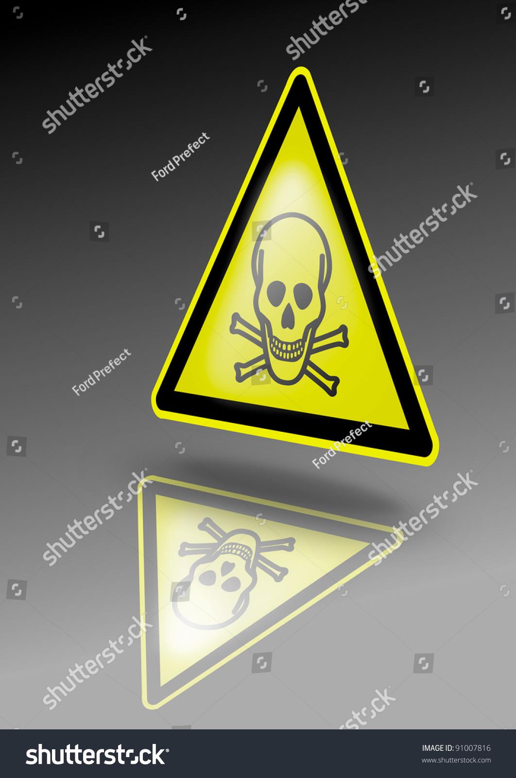 Poison Warning Sign Skull Crossbones Symbol Stock Illustration