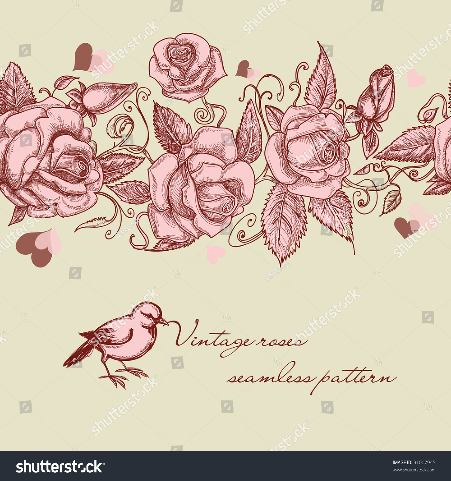 Vintage Roses Seamless Pattern Stock Vector Illustration ...