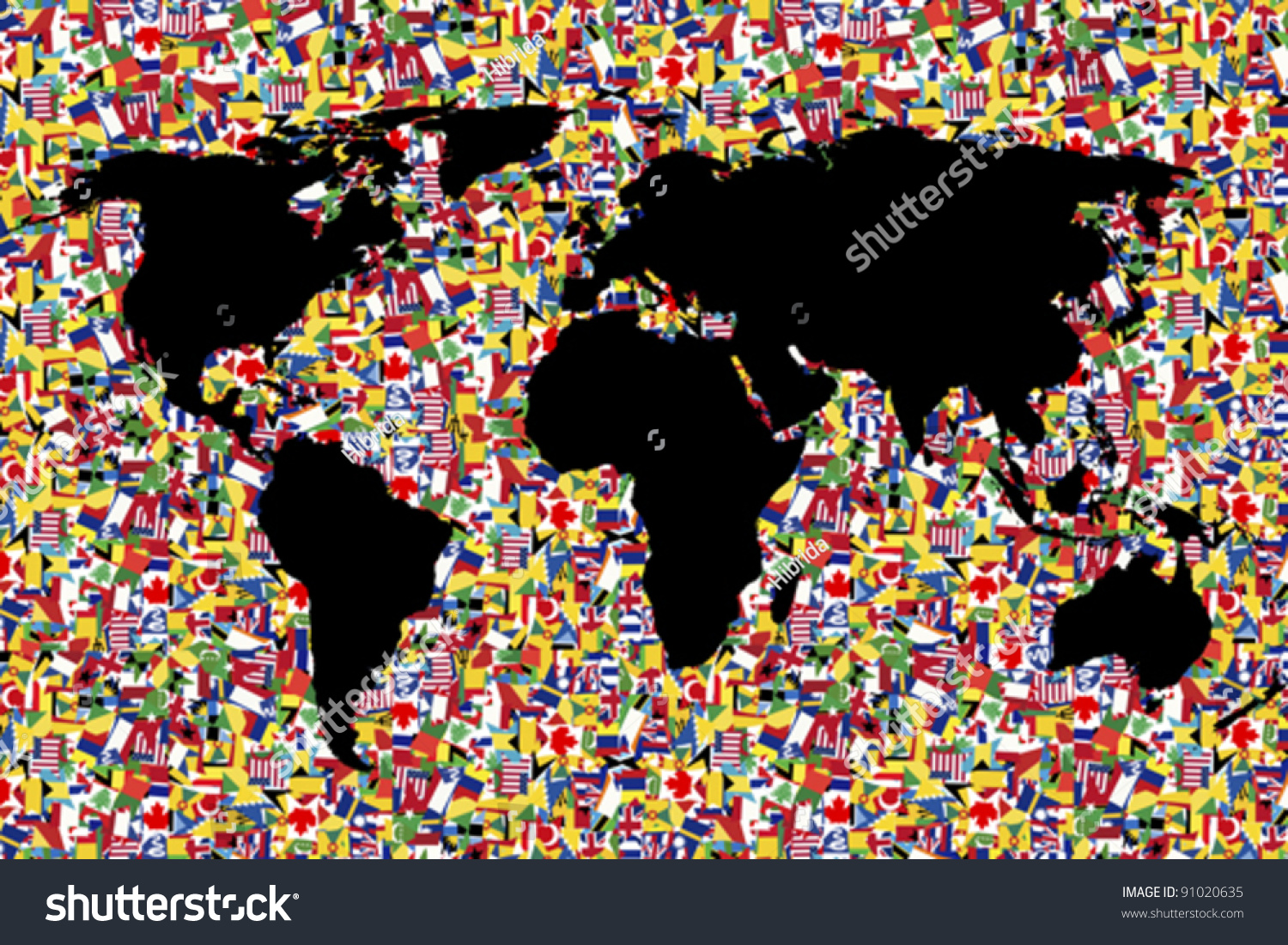 World map on background made flags stock vector 91020635 world map on background made of flags gumiabroncs Images