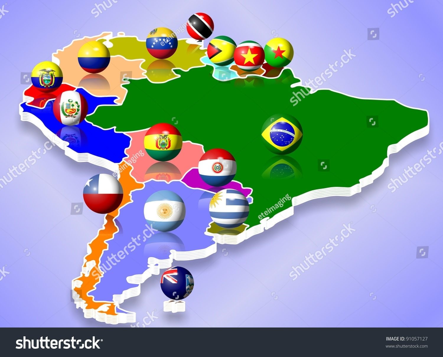 Map South America All Countries Their Stock Illustration - South america map and flags