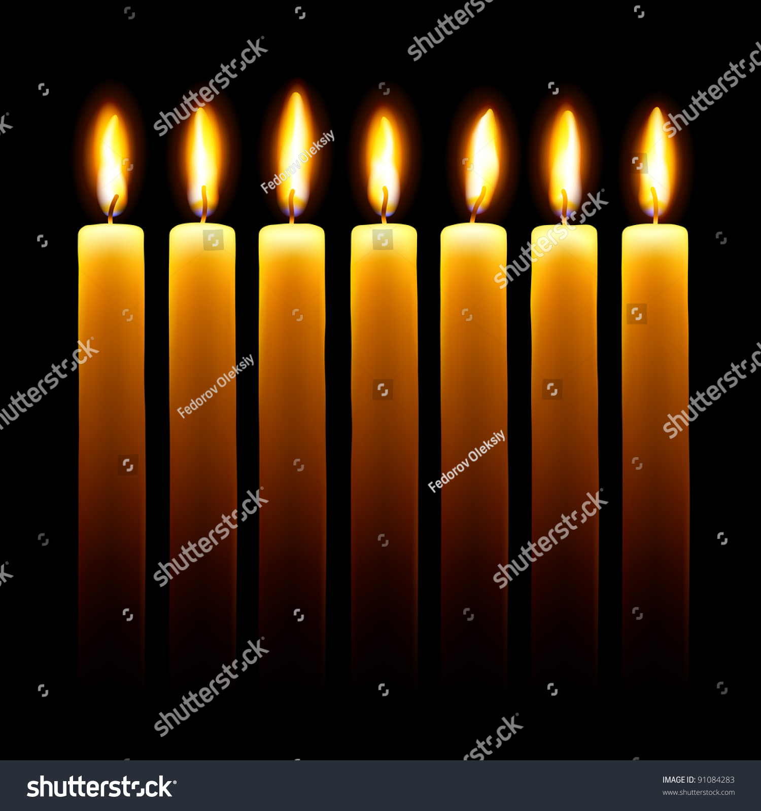 Burning Candles On Black Background. Stock Vector ...