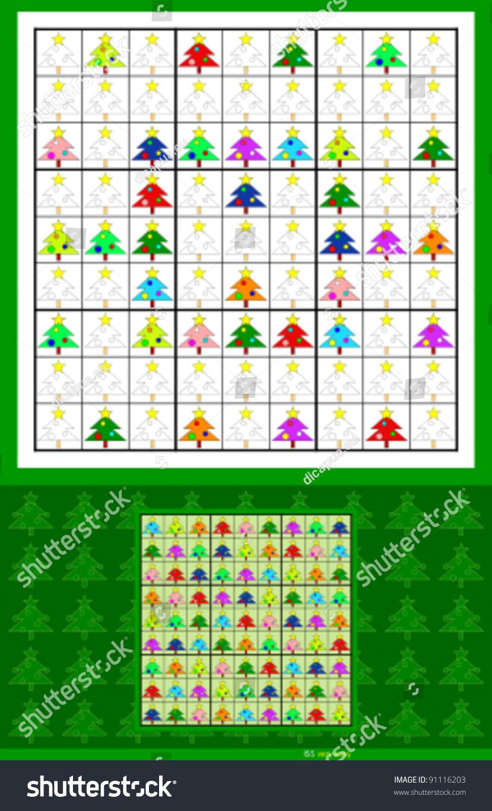 Christmas Sudoku.Christmas Sudoku Symmetrical Very Easy 34 Stock Vector