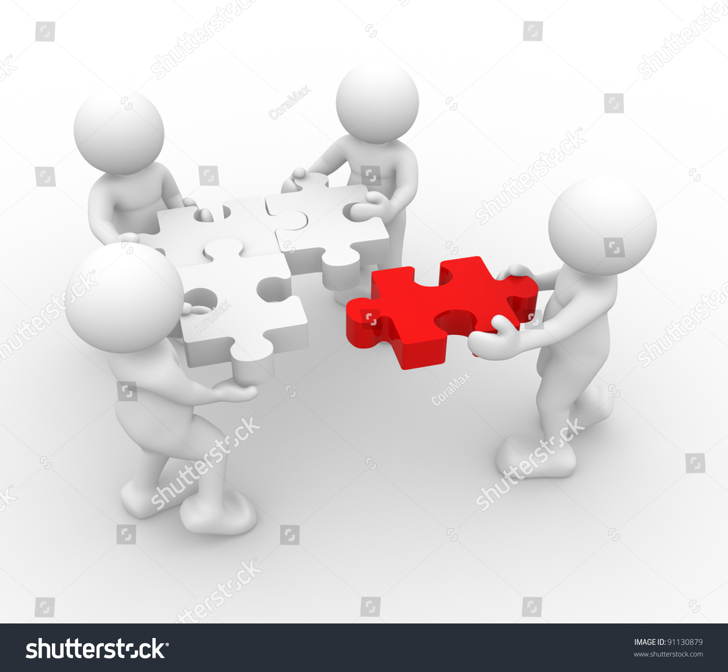 3 D People Human Character Person Jigsaw Stock Illustration 91130879