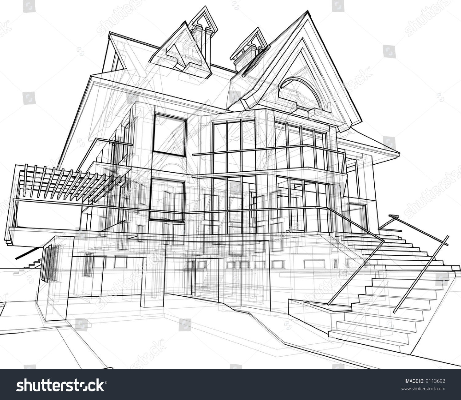 House 3d Technical Draw Stock Photo 9113692 Shutterstock
