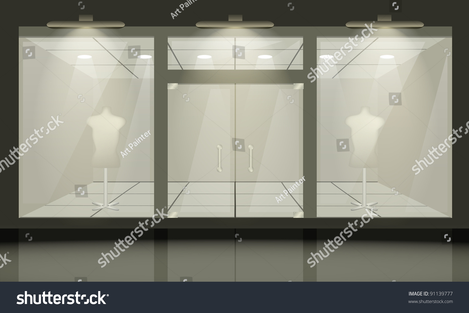 Shop Glass Windows Doors Front View Stock Vector 91139777