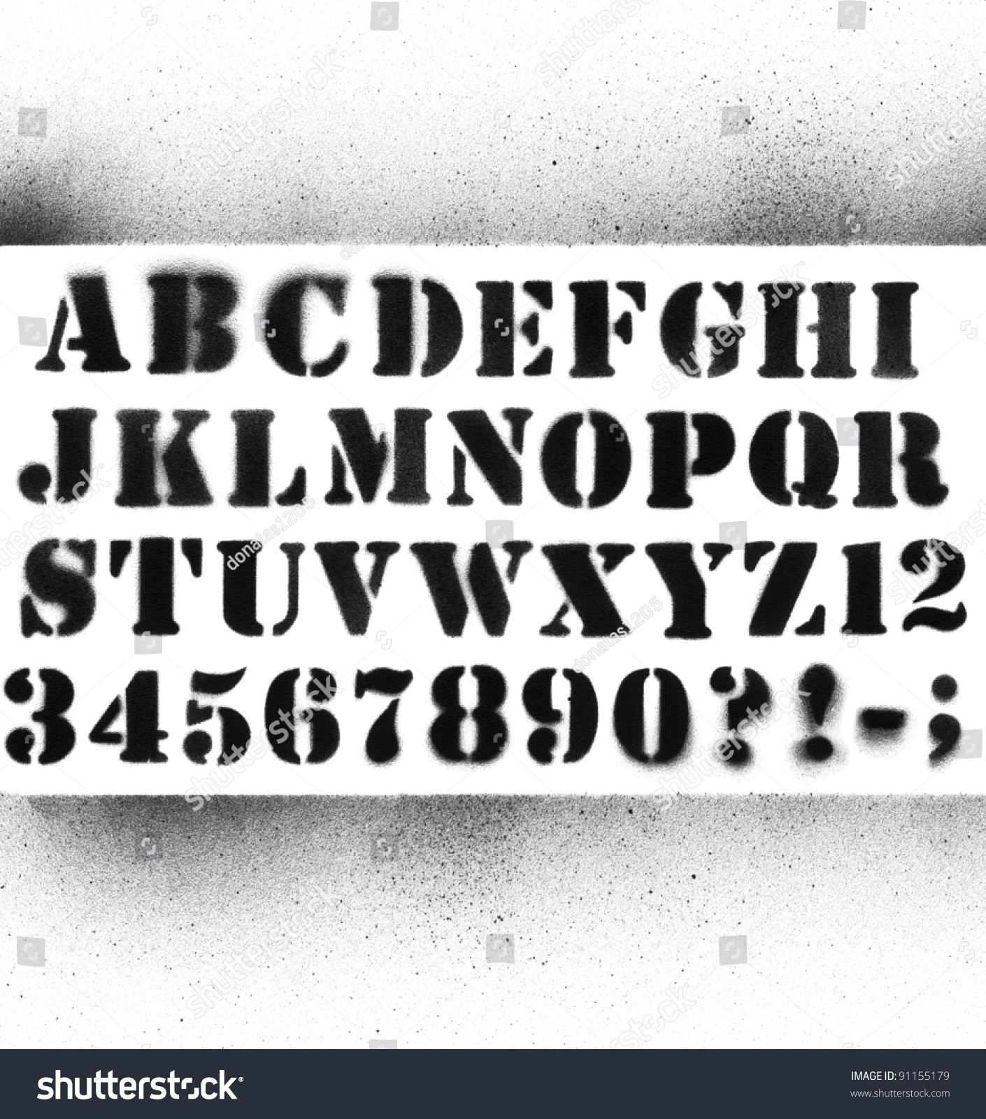 Splatted graffiti alphabet with numbers