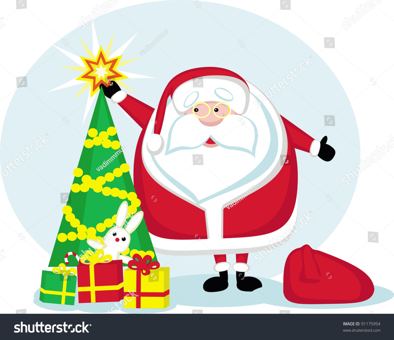 Cartoon santa star christmas tree and presents vector
