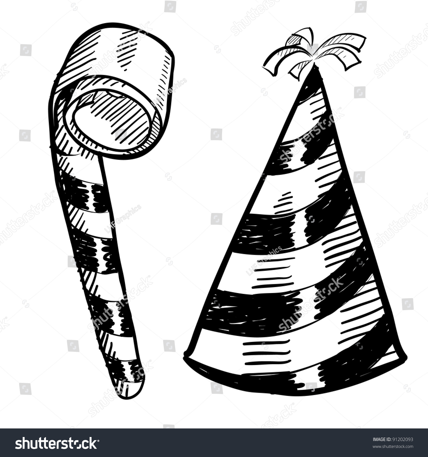 doodle style new years eve party hat and noisemaker illustration in vector format suitable for web