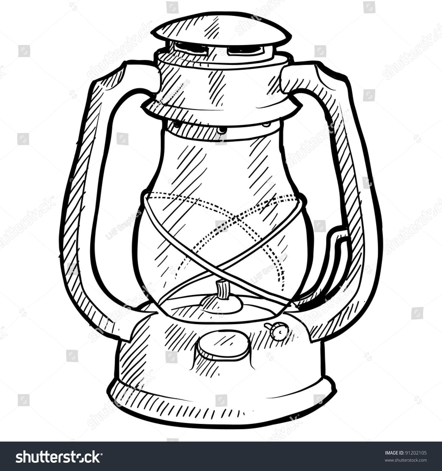 Doodle Style Retro Camping Lantern Illustration In Vector Format Suitable For Web Print Or