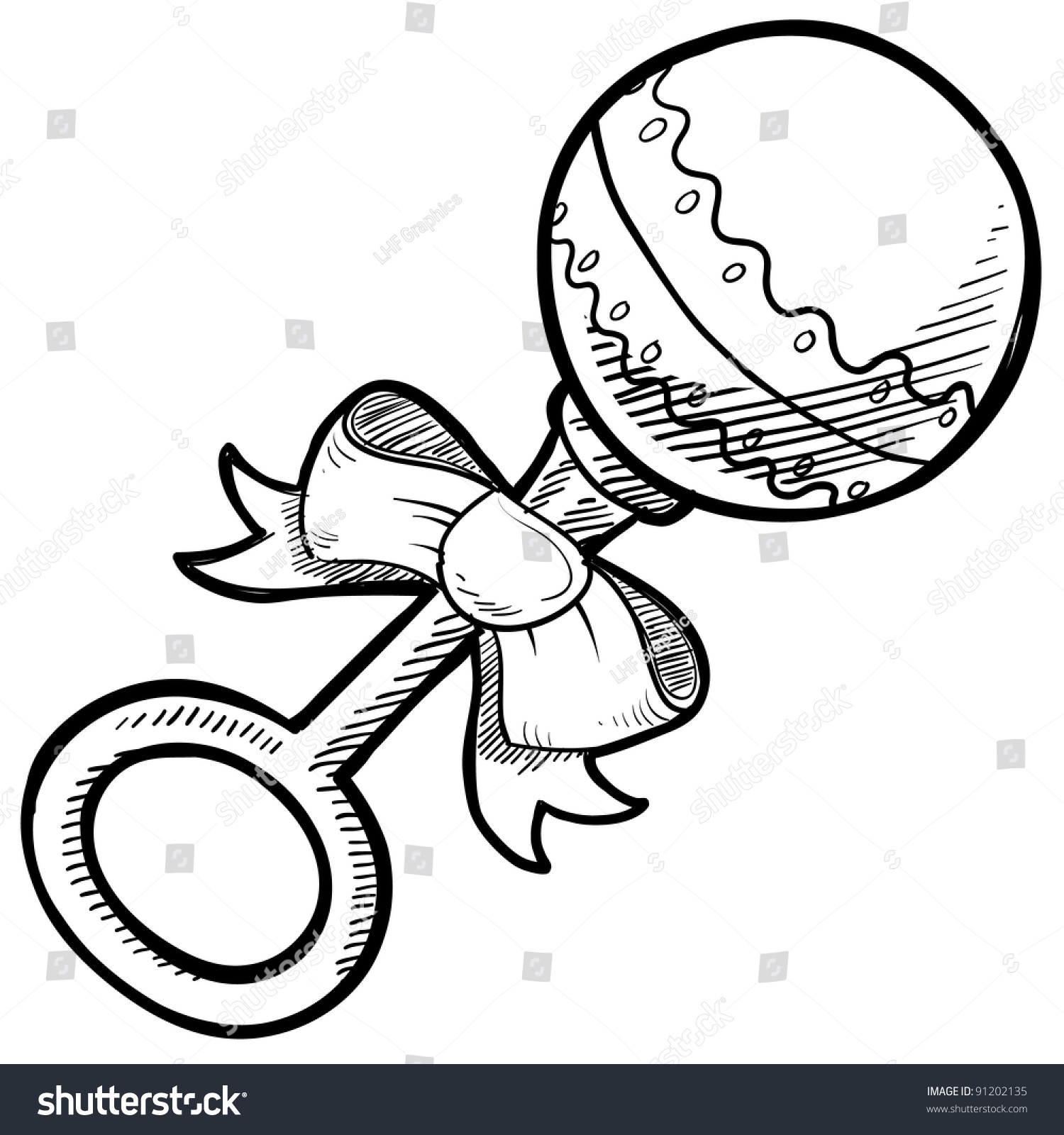doodle style baby rattle illustration in vector format suitable for web print or advertising