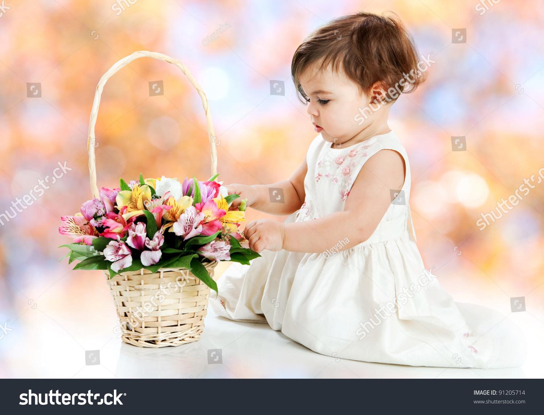 Little Girl Flower Basket On White Stock Photo Edit Now 91205714