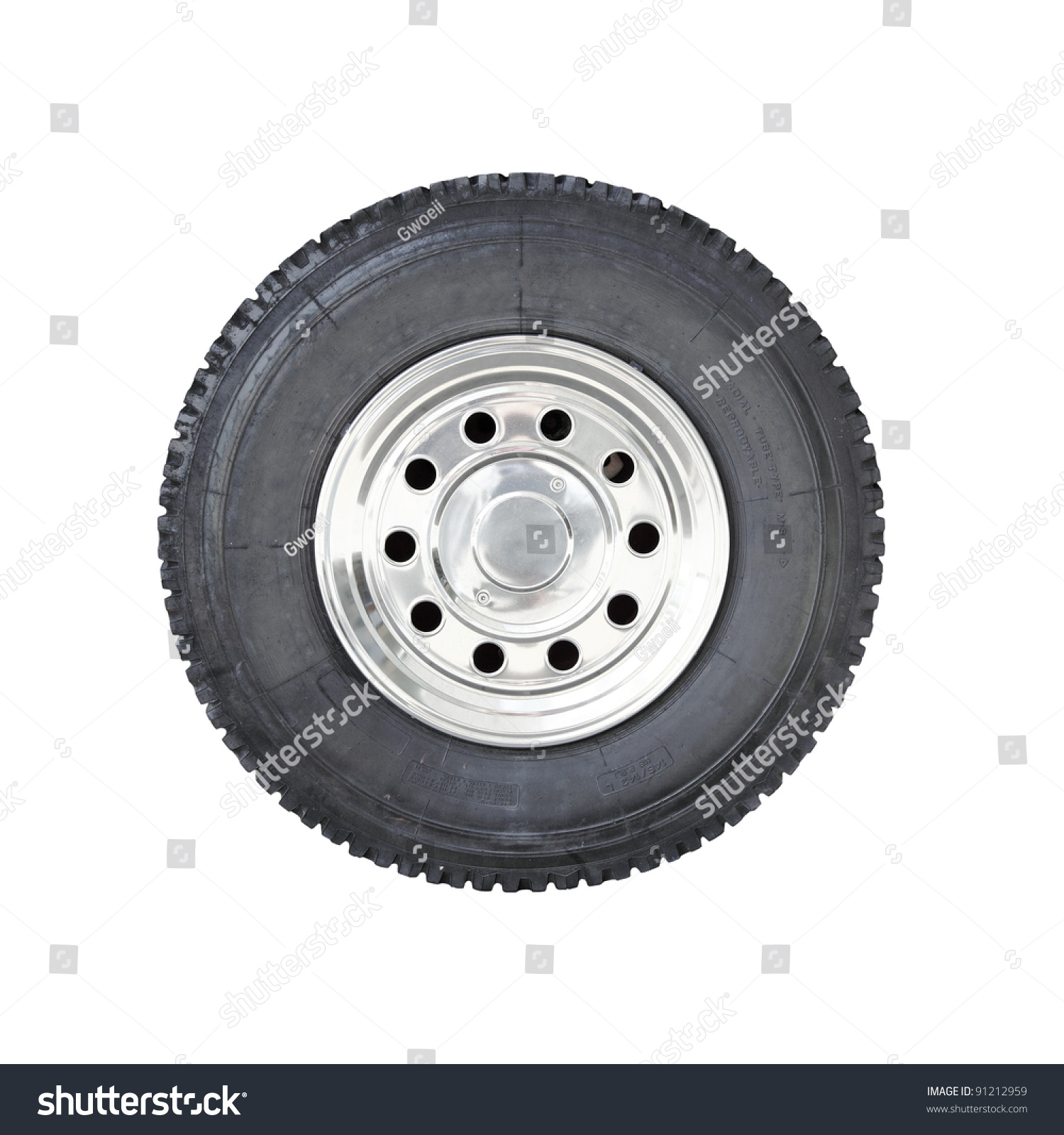 big rubber tire mounted on chrome stock photo 91212959 shutterstock. Black Bedroom Furniture Sets. Home Design Ideas