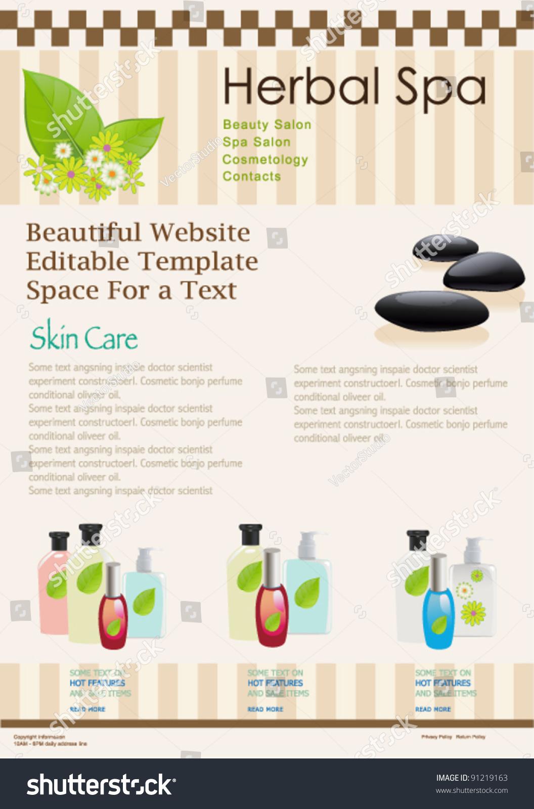 salon brochure templates free - website template for spa or beauty salon vector brochure