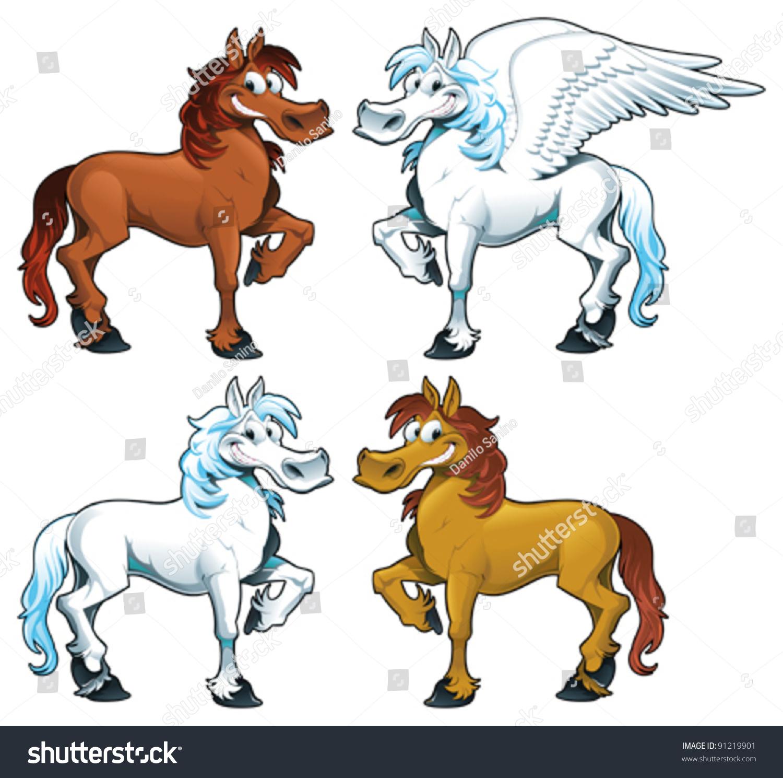 family horses 1 pegasus funny cartoon stock vector. Black Bedroom Furniture Sets. Home Design Ideas