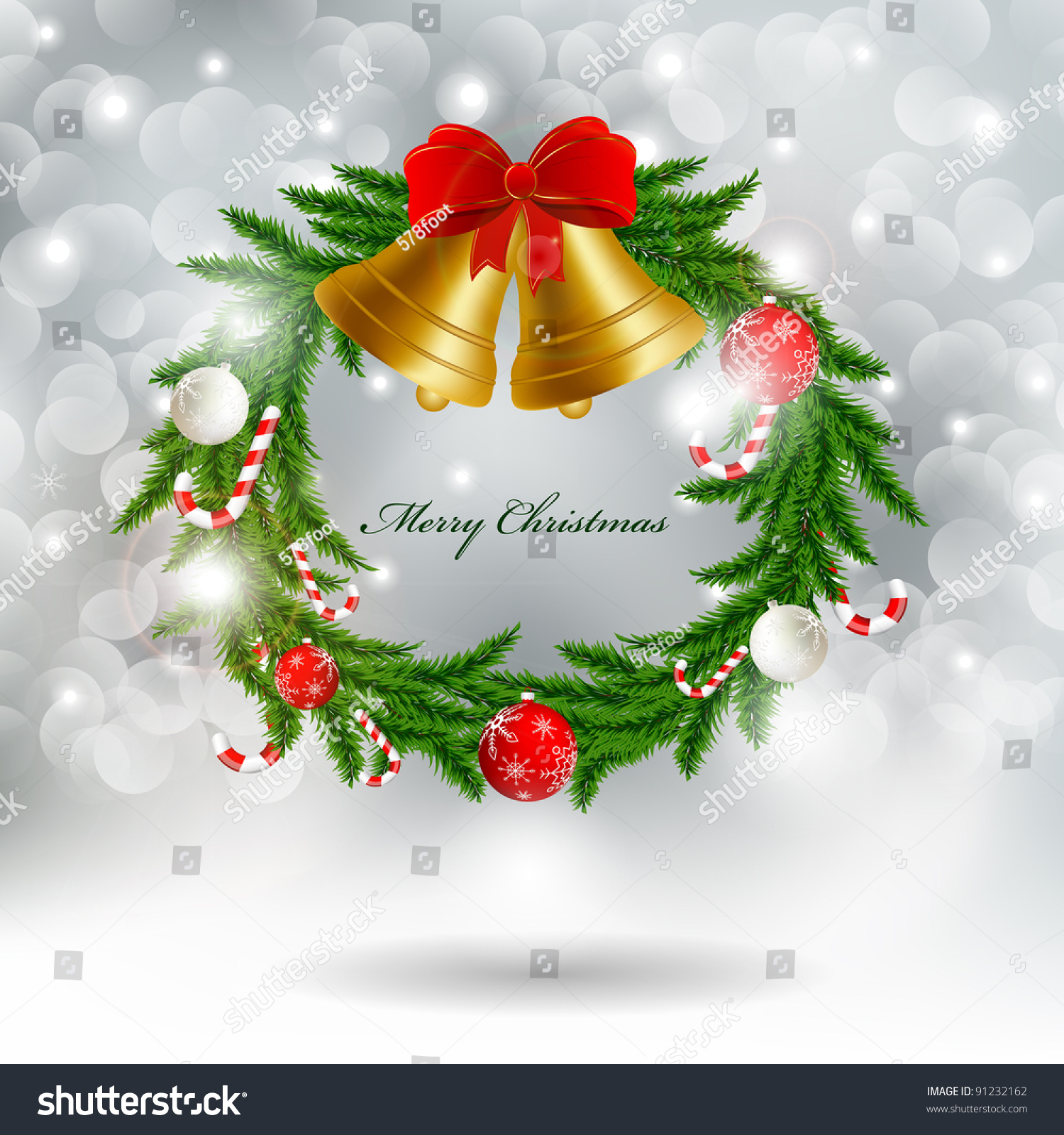 Christmas garland with bells stock photo