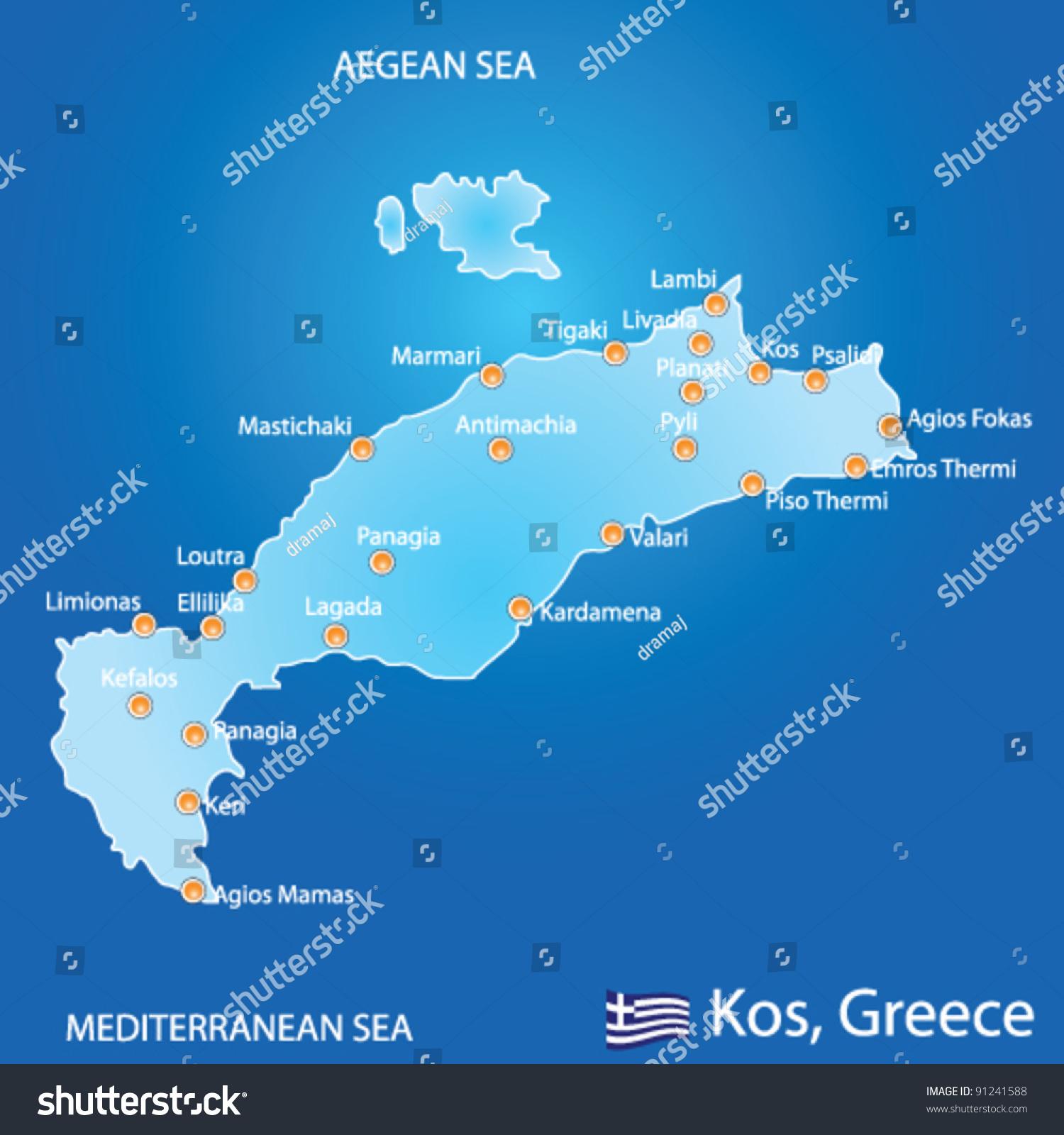 Island kos greece map on blue stock photo photo vector island of kos in greece map on blue background gumiabroncs Gallery
