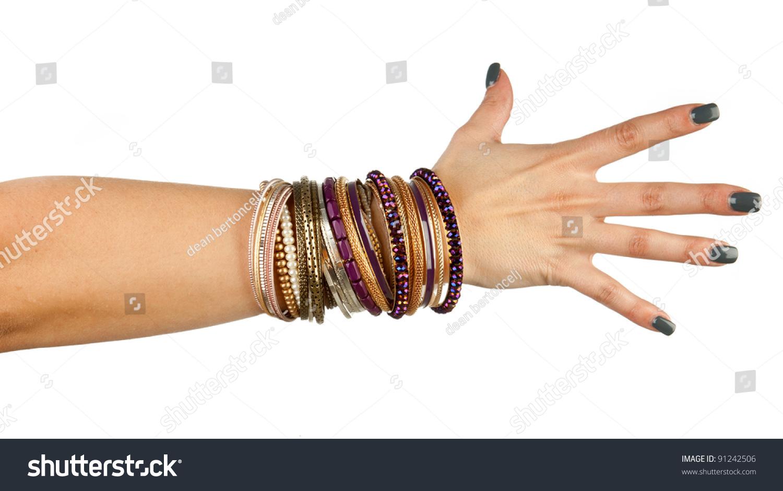 Woman Hand Bracelets Stock Photo 91242506 - Shutterstock