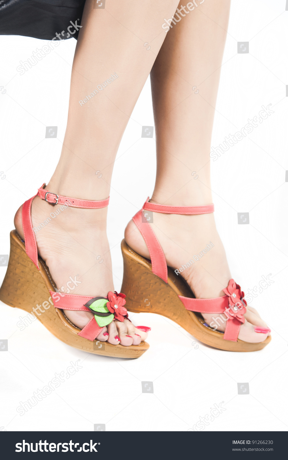 Womans Feet Fashion Shoes Isolated On Stock Photo (100% Legal ...