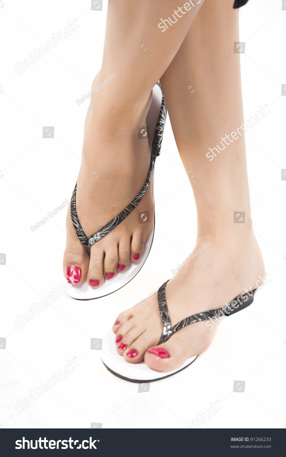 Womans Feet Fashion Shoes Isolated On Stock Photo & Image (Royalty ...