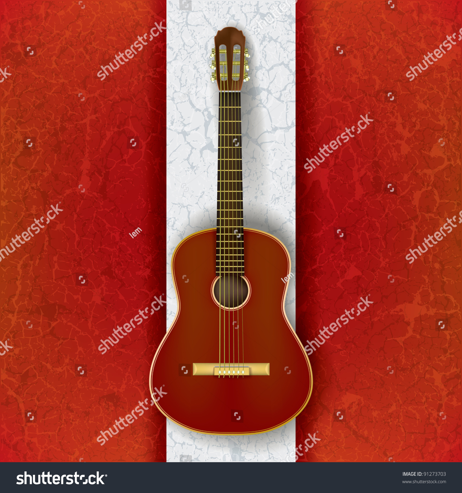 Acoustic Guitar On Abstract Grunge White Stock ...