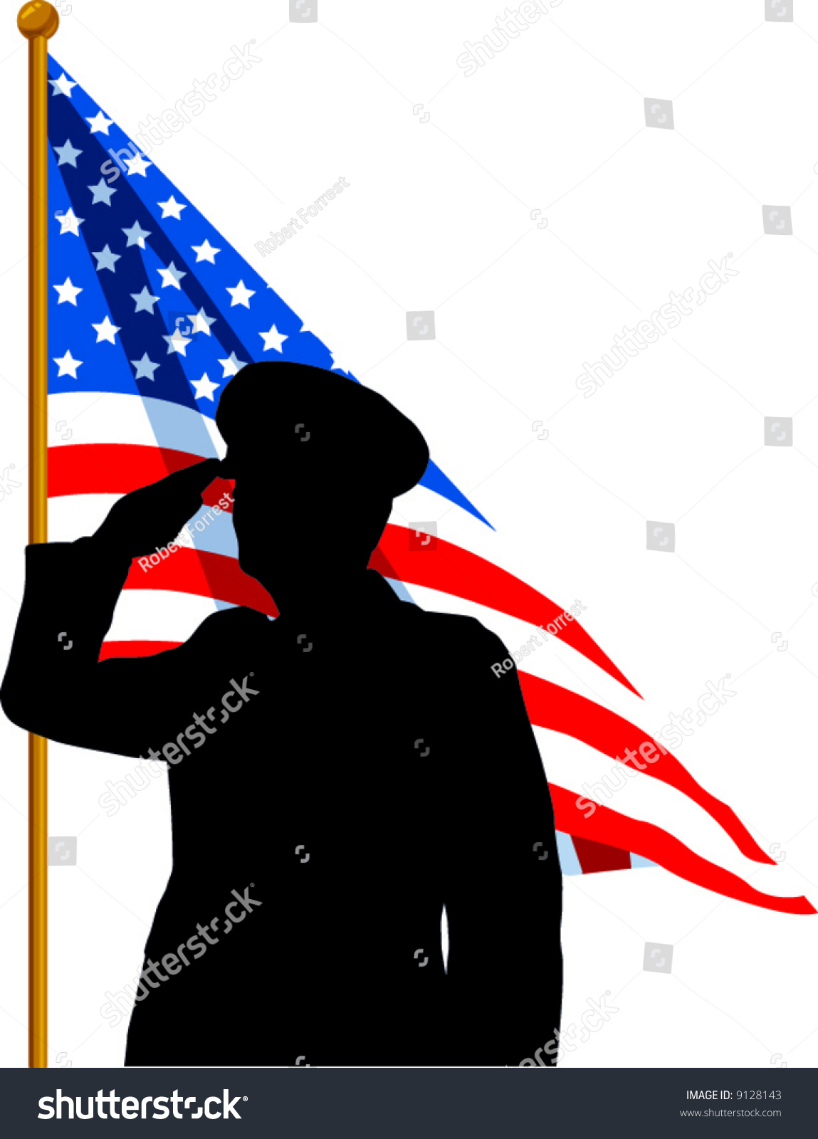 Vector Silhouette Soldier Saluting American Flag Stock