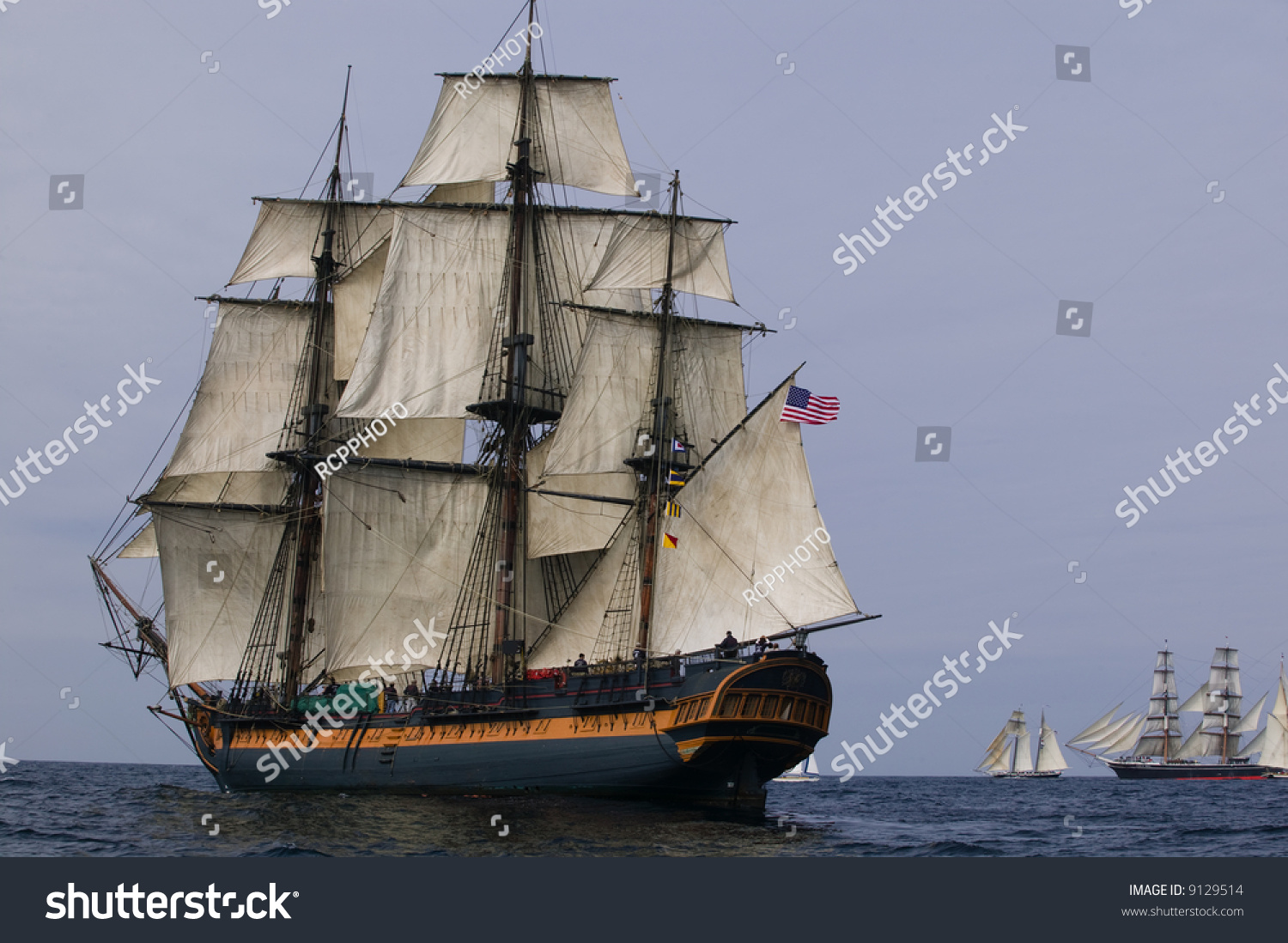 Vintage Frigate Sailing Ship At Sea Under Full Sail With ...