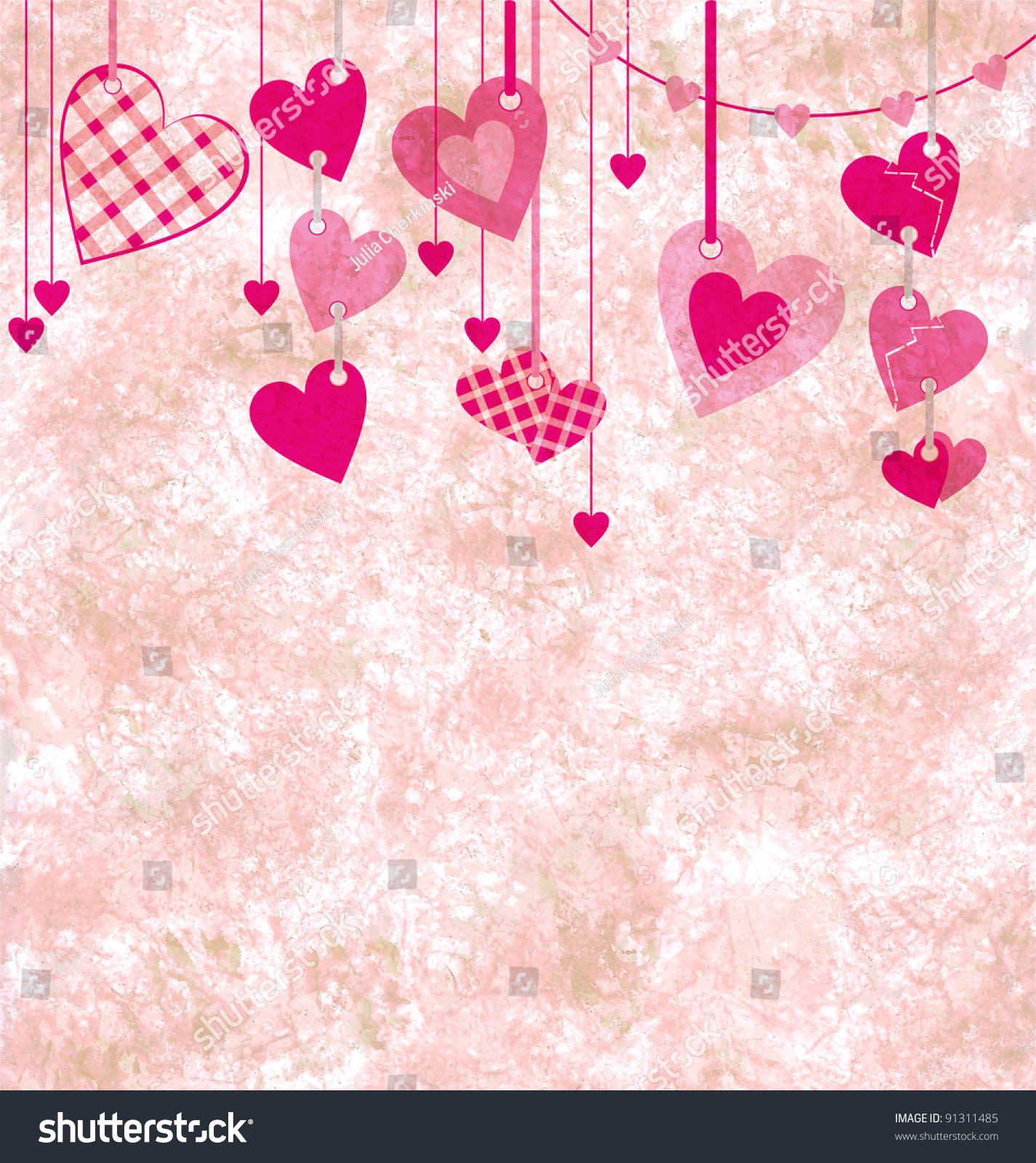 Different Pink Hanging Hearts On Grunge Stock Illustration