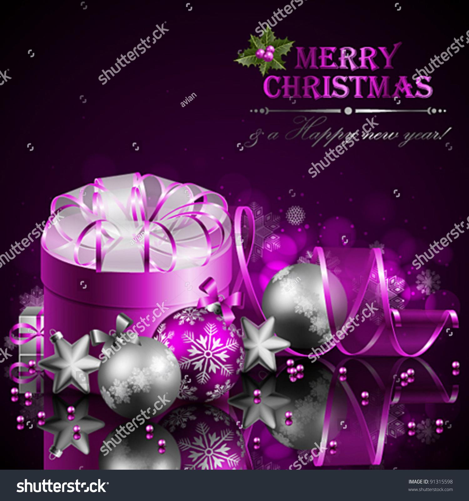 Christmas Background Purple Silver Balls Vector Stock ...