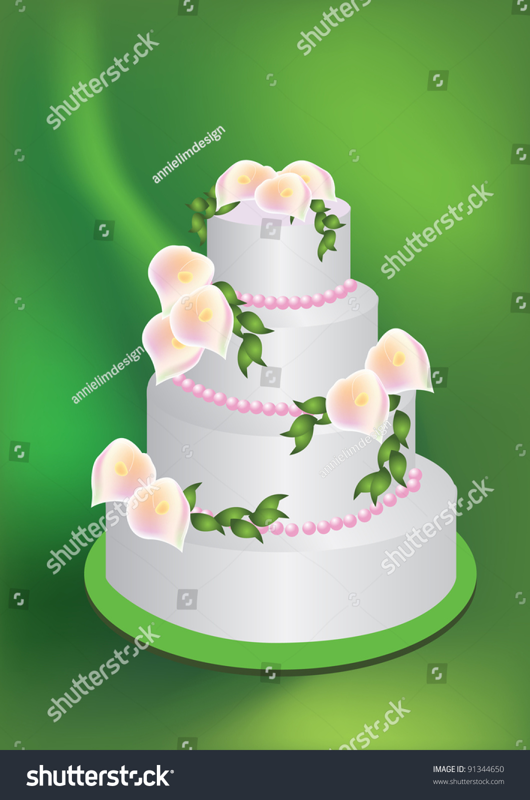 Illustration Wedding Cake Lily Flowers On Stock Illustration