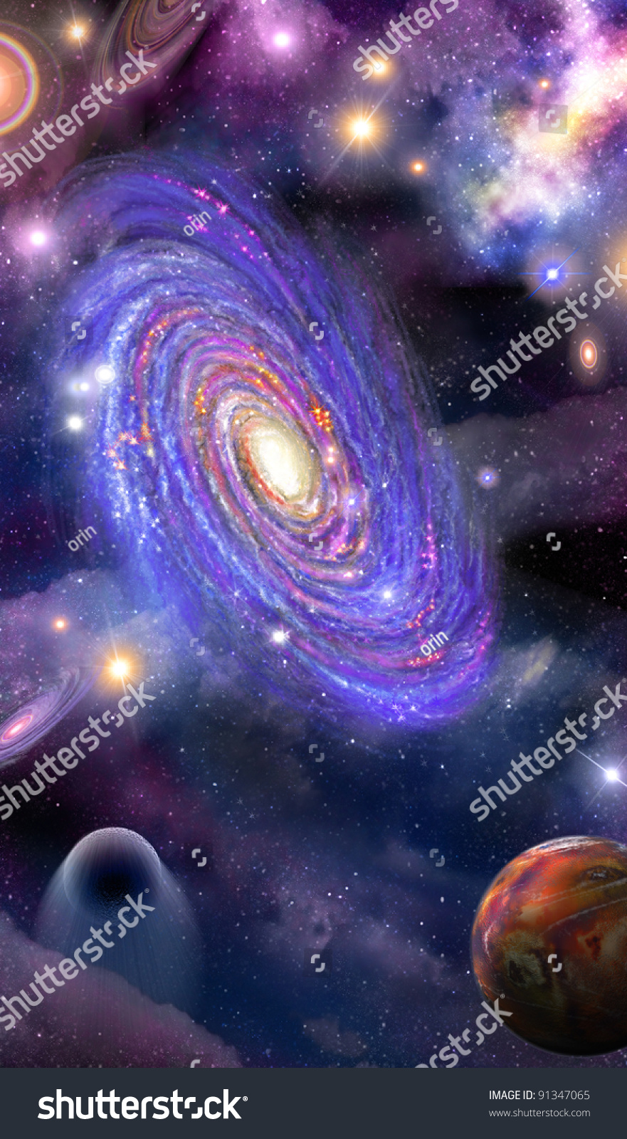 Spiral Galaxy Of Stars, Planets And Space Nebula Stock ...