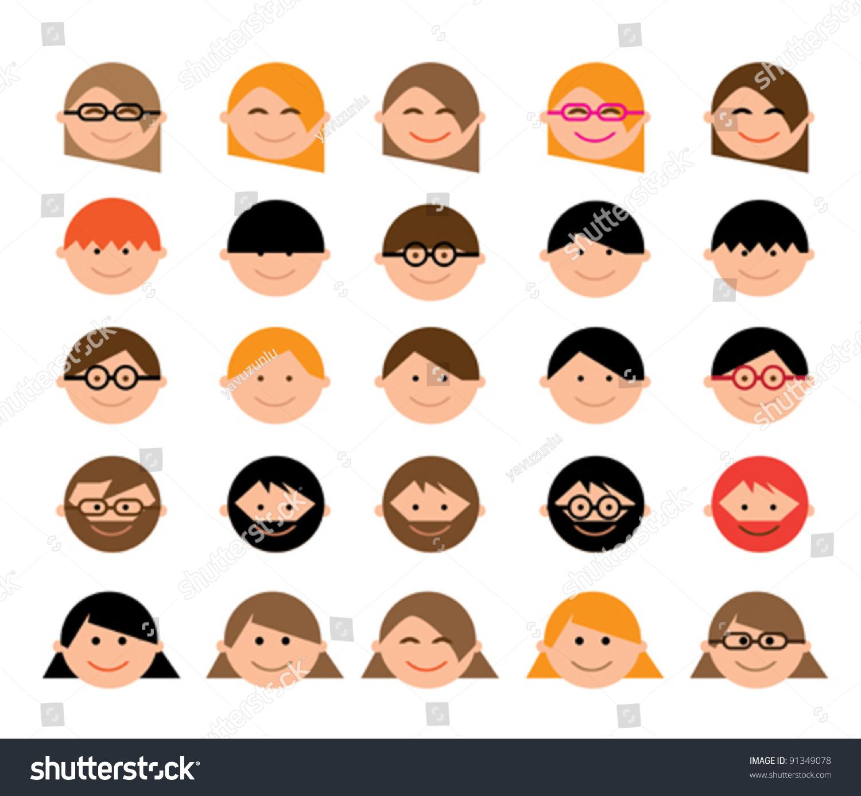 Cartoon Characters Faces : Cartoon character faces stock vector