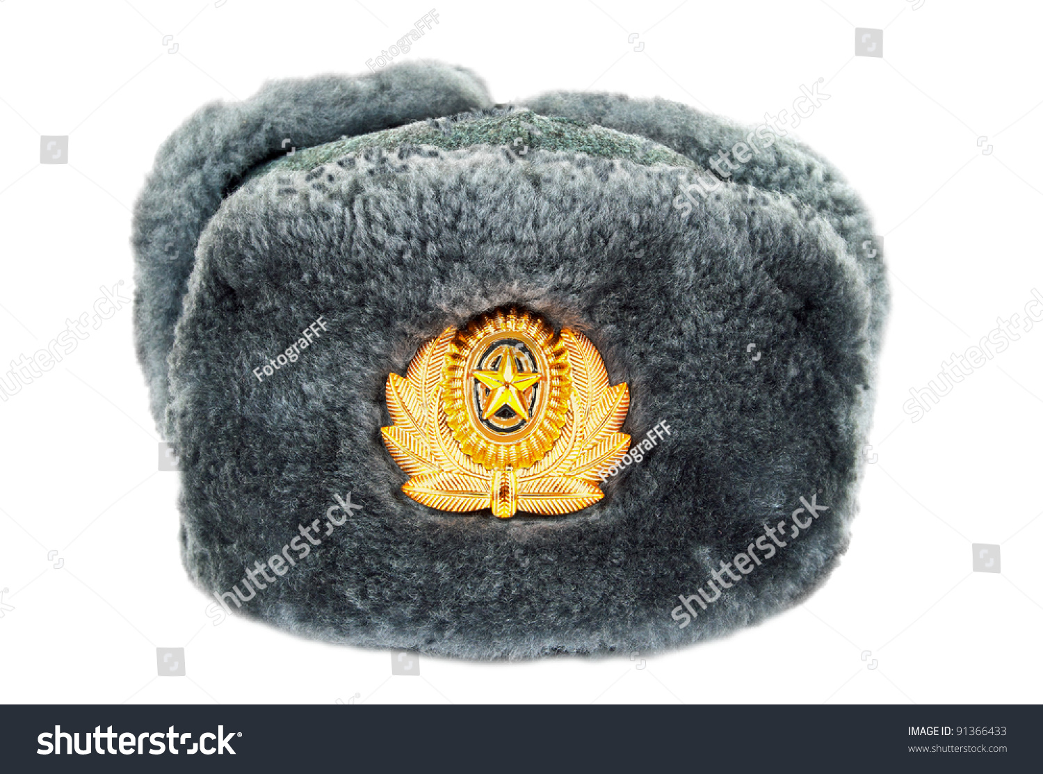 russian winter army hat isolated on white background stock