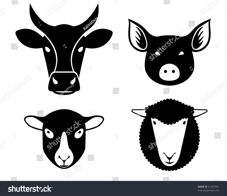 Farm animal head silhouettes - photo#1