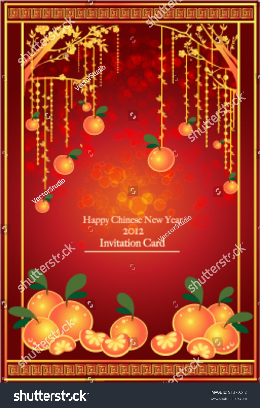 oranges mandarin hanging on the tree background for traditional of chinese new year festival vector