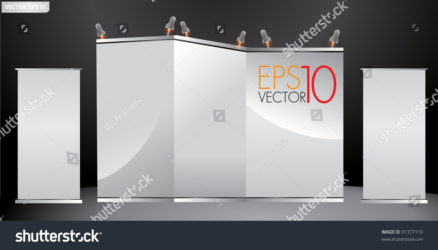 Simple Exhibition Stand Vector : Blank trade exhibition stand advertising and roll up